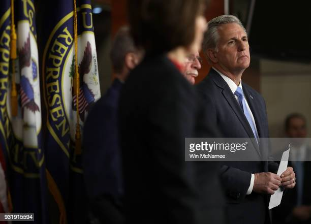 Rep Kevin McCarthy attends a press conference at the US Capitol on March 14 2018 in Washington DC US Speaker of the House Paul Ryan answered...