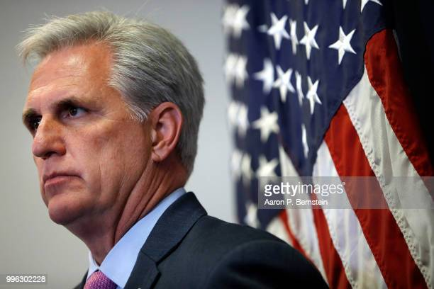 Rep Kevin McCarthy House Majority Leader looks on during a news conference following a House Republican conference meeting July 11 2018 on Capitol...
