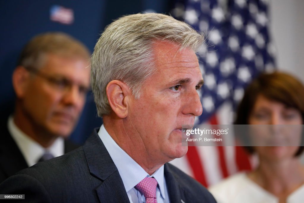 Rep. Kevin McCarthy (R-CA), House Majority Leader, speaks with reporters during a news conference following a House Republican conference meeting July 11, 2018 on Capitol Hill in Washington, DC. House Republicans are promoting the results of their recent tax bill.