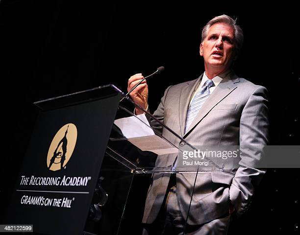 Rep Kevin McCarthy makes a few remarks after being honored at the GRAMMYs On The Hill 2014 at The Hamilton on April 2 2014 in Washington DC