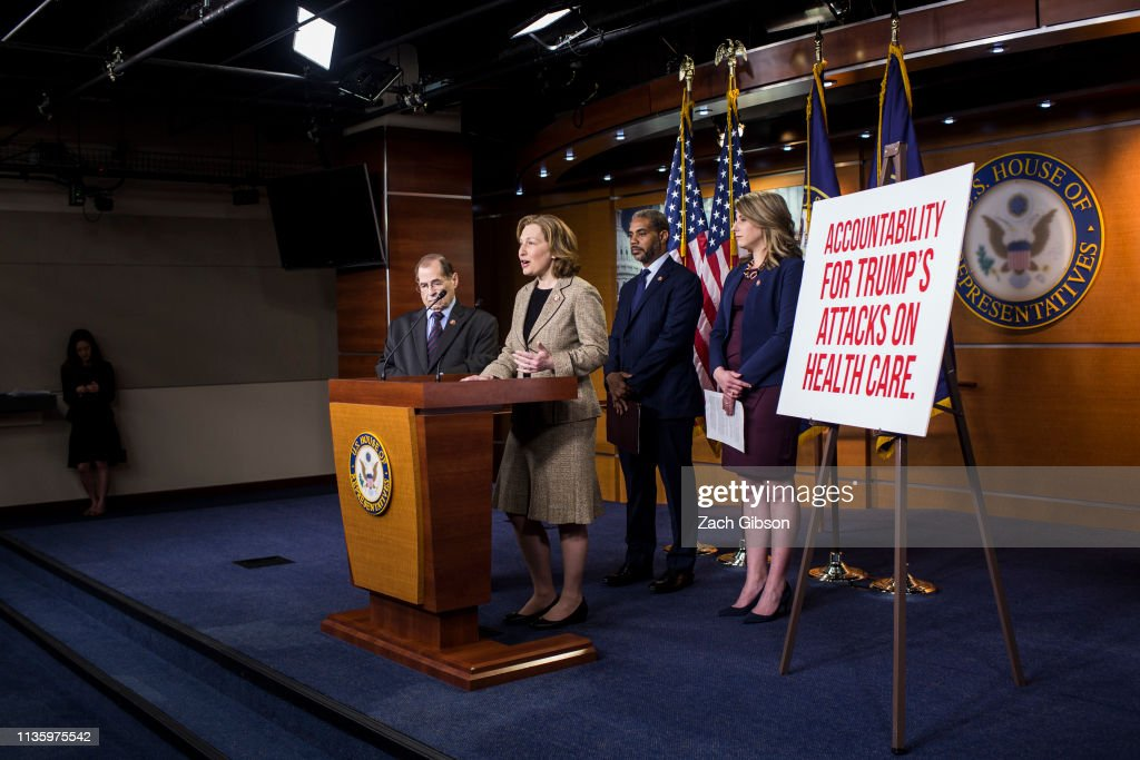 Democrat Lawmakers Hold Press Conference Calling On Trump Administration To End Assault On Health Care : News Photo