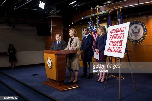 Rep Kim Schrier speaks during a news conference on April 9 2019 in Washington DC House Democrats unveiled new letters to the Attorney General HHS...