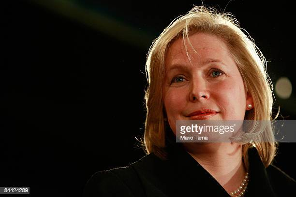 S Rep Kirsten Gillibrand looks on during a news conference announcing her as New York Gov David A Paterson's choice to fill the vacant US Senate seat...