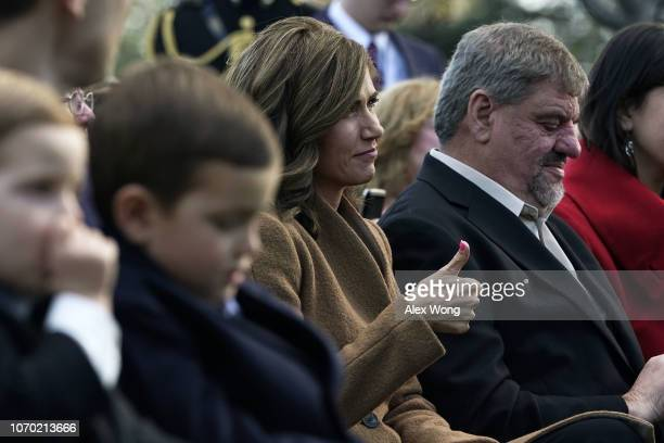 Rep. Kristi Noem gives a thumbs up as she is introduced by President Donald Trump during a turkey pardoning event at the Rose Garden of the White...