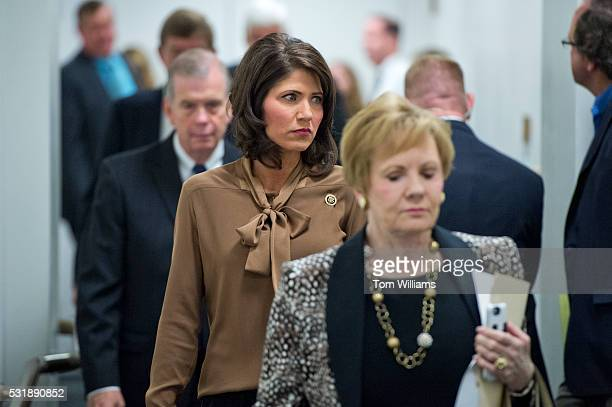 Rep Kristi Noem RSD center leaves a meeting of the House Republican Conference in the Capitol May 17 2016
