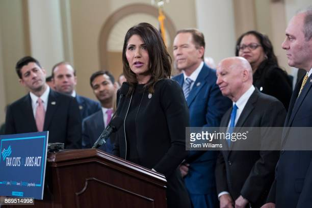 Rep Kristi Noem RSD GOP leaders and members of the House Ways and Means Committee conduct a news conference in Longworth Building to unveil the...