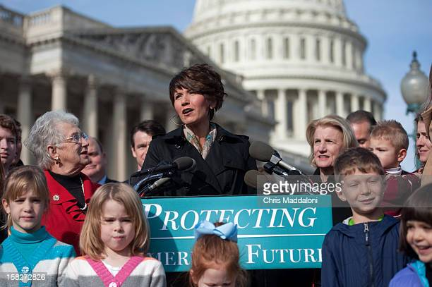 Rep Kristi Noem RSD speaks at a press conference with other GOP members attacking the lack of focus on the national debt during the Fiscal Cliff...