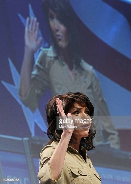 Rep Kristi Noem speaks at the Conservative Political Action conference on February 10 2011 in Washington DC The CPAC annual gathering is a project of...