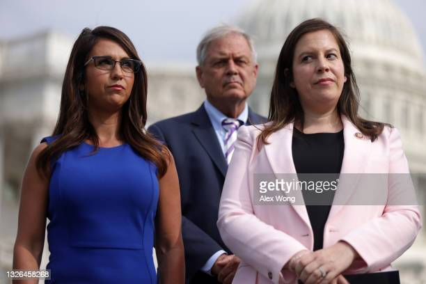 Rep. Lauren Boebert and House Republican Conference Chair Rep. Elise Stefanik listen during a news conference in front of the U.S. Capitol July 1,...