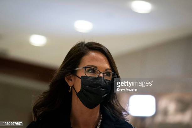 Rep. Lauren Boebert arrives to a House GOP caucus meeting at the U.S. Capitol on February 3, 2021 in Washington, DC. Democrats announced plans to...