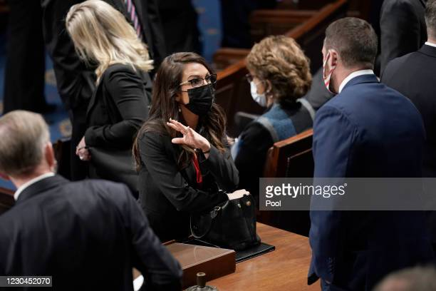 Rep. Lauren Boebert attends a joint session of Congress at the U.S. Capitol on January 6, 2021 in Washington, DC. Congress held a joint session today...