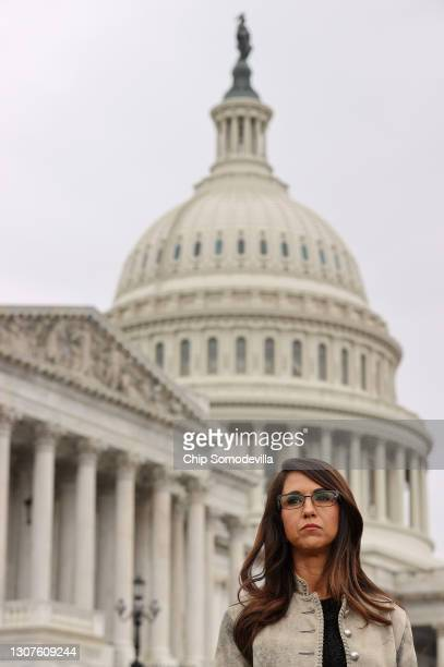Rep. Lauren Boebert attends a news conference with members of the House Freedom Caucus about immigration on the U.S.-Mexico border outside the U.S....