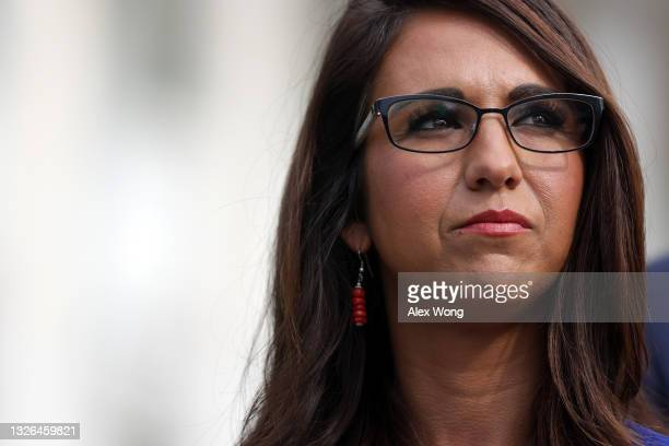 Rep. Lauren Boebert listens during a news conference in front of the U.S. Capitol July 1, 2021 in Washington, DC. House Republicans held a news...