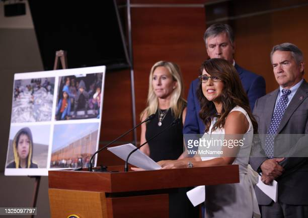 Rep. Lauren Boebert speaks during a press conference at the U.S. Capitol June 23, 2021 in Washington, DC. Boebert announced she has introduced a...
