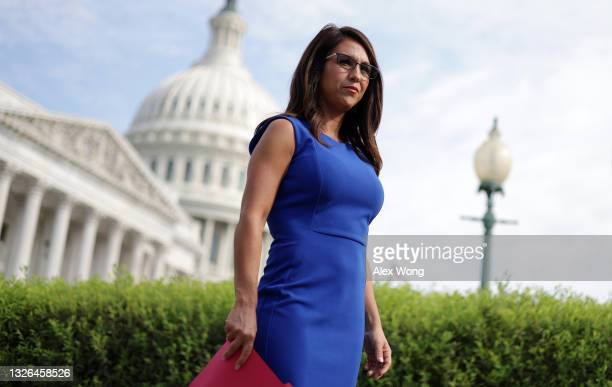 Rep. Lauren Boebert waits for the beginning of a news conference in front of the U.S. Capitol July 1, 2021 in Washington, DC. House Republicans held...
