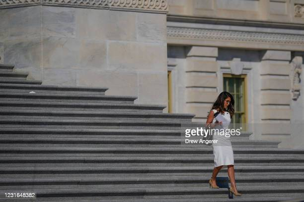 Rep. Lauren Boebert walks down the House steps at the U.S. Capitol on March 11, 2021 in Washington, DC. U.S. Customs and Border Protection announced...