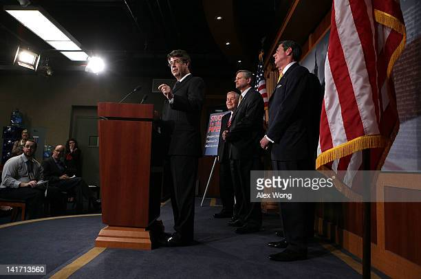 S Rep Lee Terry speaks as Sen Richard Lugar Sen John Hoeven and Sen David Vitter listen during a news conference March 22 2012 on Capitol Hill in...