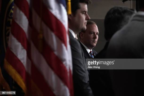 S Rep Lee Zeldin and Rep Matt Gaetz listen during a news conference May 22 2018 on Capitol Hill in Washington DC Rep Zeldin will introduce with at...