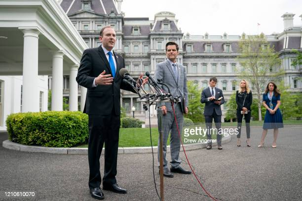 Rep. Lee Zeldin and Rep. Matt Gaetz speak to reporters outside the West Wing of the White House following a meeting with U.S. President Donald Trump...