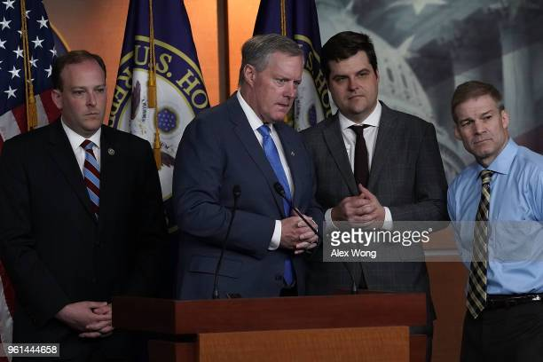US Rep Lee Zeldin Rep Mark Meadows Rep Matt Gaetz and Rep Jim Jordan listen during a news conference May 22 2018 on Capitol Hill in Washington DC Rep...