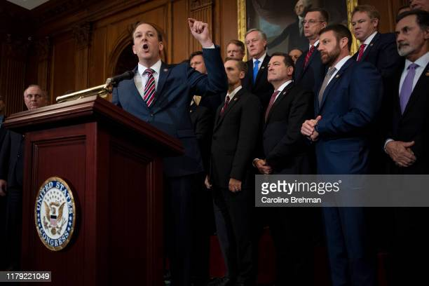 Rep. Lee Zeldin, R-N.Y., speaks during a news conference with other Republicans on Capitol Hill on Thursday Oct. 31, 2019.