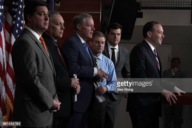S Rep Lee Zeldin speaks as Rep Mark Meadows Rep Jim Jordan and Rep Matt Gaetz listen during a news conference May 22 2018 on Capitol Hill in...