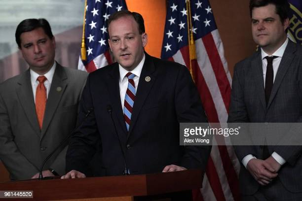 S Rep Lee Zeldin speaks as Rep Matt Gaetz listens during a news conference May 22 2018 on Capitol Hill in Washington DC Rep Zeldin will introduce...