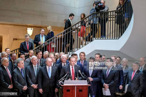 Rep Lee Zeldin speaks during a press conference alongside House Republicans on Capitol Hill on October 23 2019 in Washington DC The conference called...