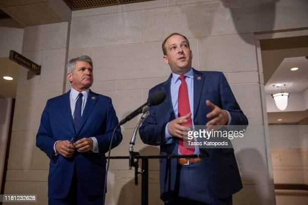 S Rep Lee Zeldon speaks to the media while joined by Rep Michael McCaul before a closed session before the House Intelligence Foreign Affairs and...