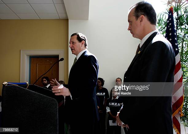 Rep Lincoln DiazBalart speaks as his brother Rep Mario DiazBalart looks on during a news conference announcing their support for The American Dream...