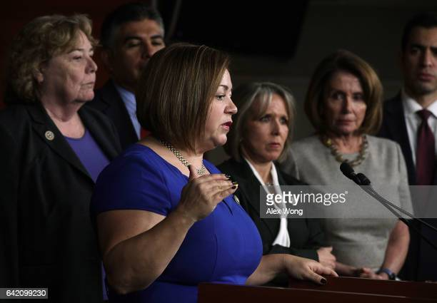 S Rep Linda Sanchez speaks as Rep Michelle Lujan Grisham Chair of Congressional Hispanic Caucus House Minority Leader Rep Nancy Pelosi and other...