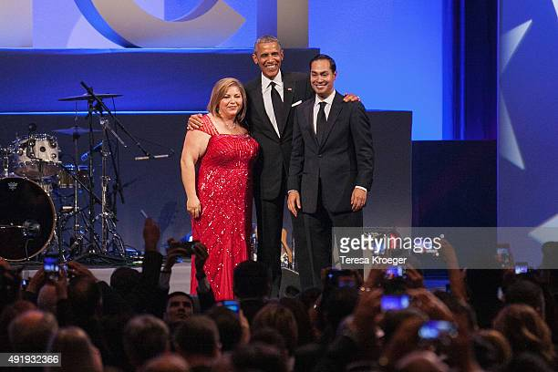 Rep Linda Sanchez US President Barack Obama and Rep Joaquin Castro on stage at CHCI's 38th Awards Gala at The Walter E Washington Convention Center...