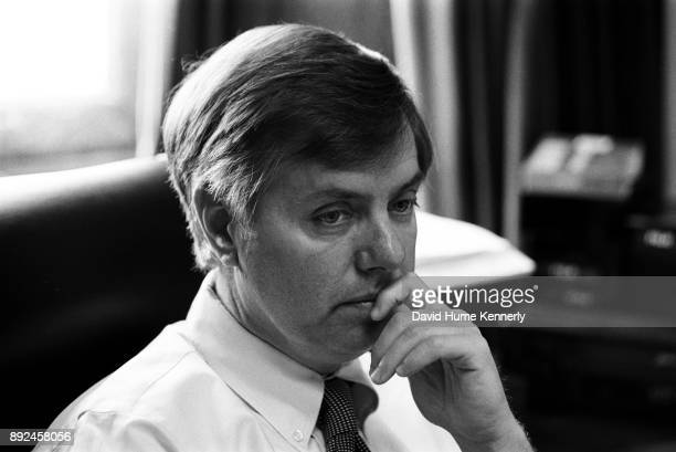 Rep Lindsey Graham of South Carolina one of the House Managers in the Senate Impeachment Trial of President Bill Clinton in his office in the US...