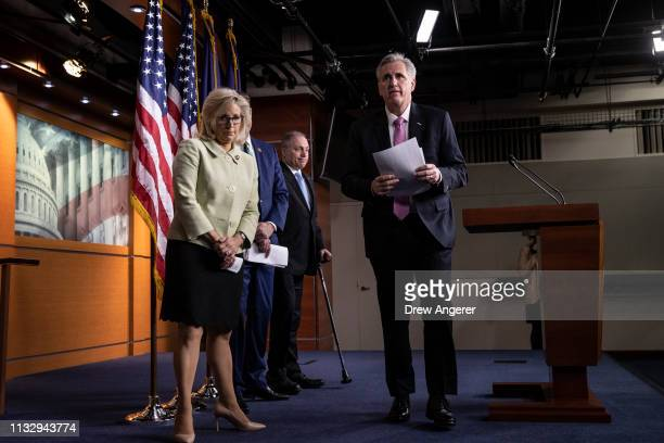 Rep Liz Cheney Rep Steve Scalise and House Minority Leader Kevin McCarthy depart a press conference at the US Capitol March 26 2019 in Washington DC...