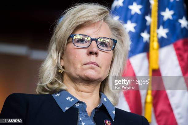 Rep. Liz Cheney, R-Wyo., chair of the House Republican Conference, conducts a news conference after a meeting in the Capitol Visitor Center on...