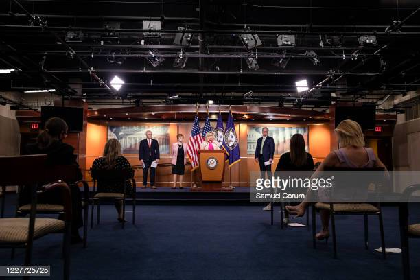 S Rep Liz Cheney speaks during a news conference with other Republican members of the House of Representatives at the Capitol on July 21 2020 in...