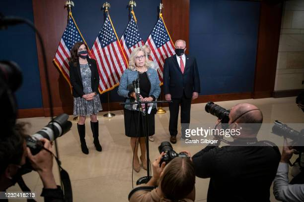 Rep. Liz Cheney speaks during a press conference following a House Republican caucus meeting on Capitol Hill on April 20, 2021 in Washington, DC. The...