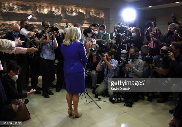 Rep. Liz Cheney speaks to the media after she was removed of her leadership role as Conference Chair, following a Republican House caucus meeting at...