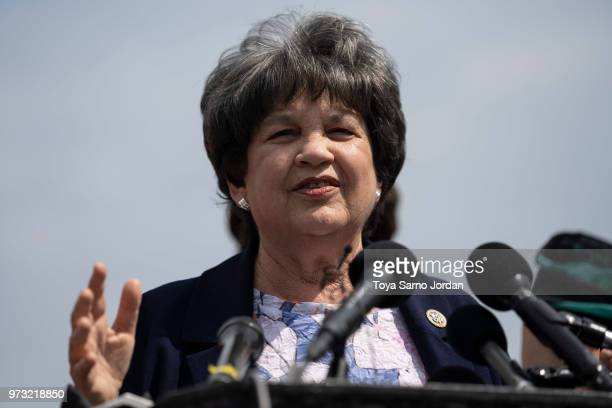 Rep Lois Frankel speaks during a news conference on immigration to condemn the Trump Administration's 'zero tolerance' immigration policy outside the...