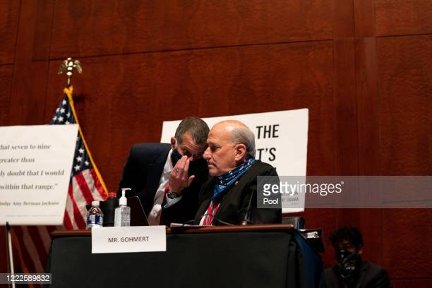 S Rep Louie Gohmert confers with Republican staff attorney Steve Castor at a hearing of the House Judiciary Committee on June 24 2020 in Washington...