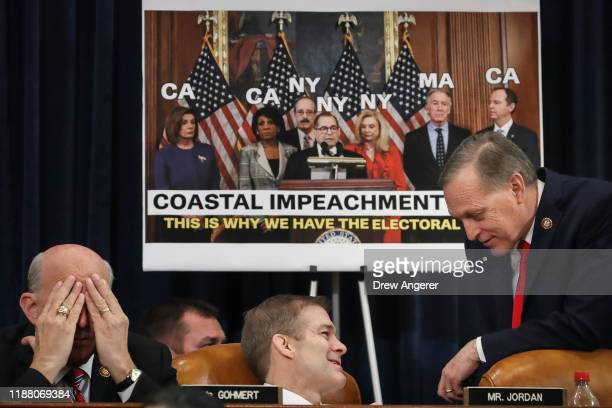 Rep Louie Gohmert Rep Jim Jordan and Rep Andy Biggs attend a House Judiciary Committee markup hearing on the articles of impeachment against US...