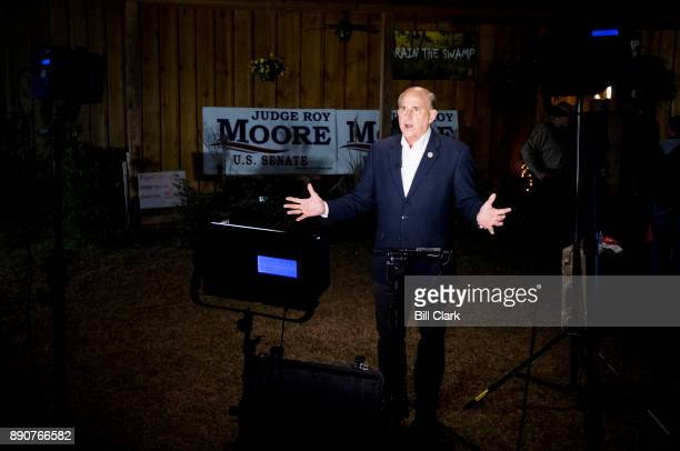 Rep Louie Gohmert RTexas gestures during a cable news interview before the start of the 'Drain the Swamp' Roy Moore campaign rally in Midland City...