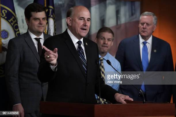S Rep Louie Gohmert speaks as Rep Mark Meadows Rep Jim Jordan and Rep Matt Gaetz listen during a news conference May 22 2018 on Capitol Hill in...