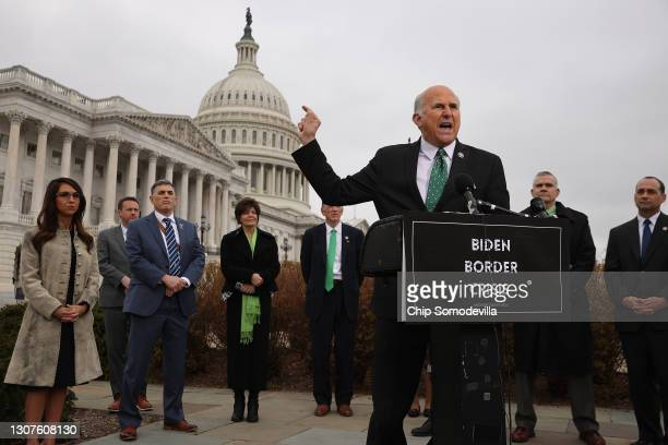 Rep. Louie Gohmert speaks during a news conference with members of the House Freedom Caucus about immigration on the U.S.-Mexico border outside the...