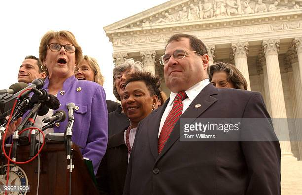 Rep Louise Slaughter DNY left along with Rep Jerry Nadler DNY along with roughly ten other Reps hold a press conference in front of the Supreme Court...