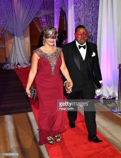Rep. Lucy McBath , United States Congresswoman, 6th Congressional District and Curtis McBath arrive at 36th Annual Atlanta UNCF Mayor's Masked Ball...
