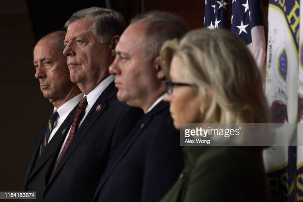 Rep. Mac Thornberry , Rep. Tom Cole , House Minority Whip Rep. Steve Scalise , and Rep. Liz Cheney listen during a news conference October 29, 2019...