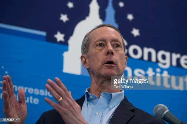 Rep. Mac Thornberry, R-Texas, conducts a news conference at the media center during the House and Senate Republican retreat at The Greenbrier resort...