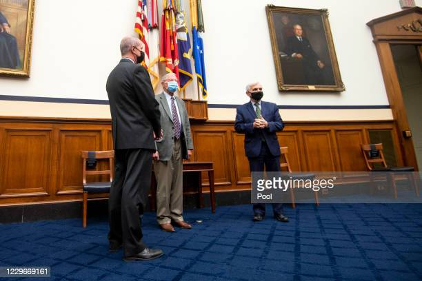 Rep. Mac Thornberry , Senate Armed Services Committee Chairman Sen. James Inhofe , and Sen. Jack Reed are seen prior to a photo op to ceremoniously...