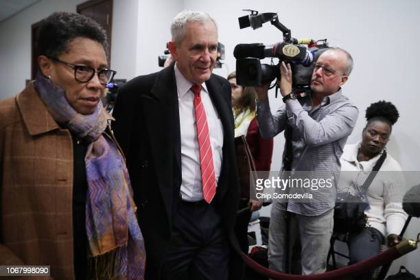 Rep Marcia Fudge and Rep Lloyd Doggett arrive for a Democratic caucus meeting in the US Capitol Visitors Center November 14 2018 in Washington DC...